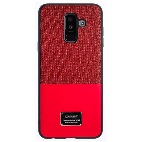 Husa Magnetica Samsung Galaxy A6 Plus 2018, Rosu Glitter CTK
