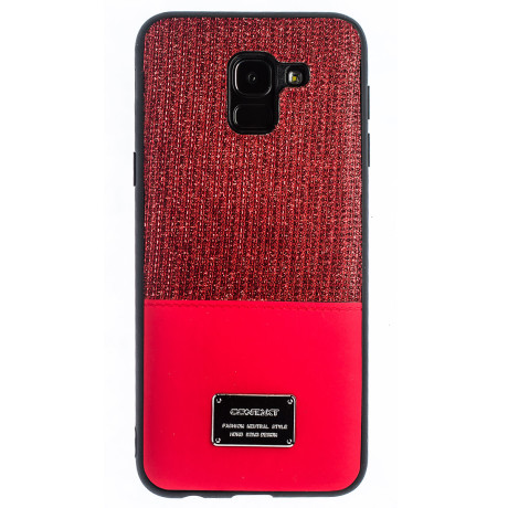 Husa Magnetica Samsung Galaxy J6 2018, Rosu Glitter CTK