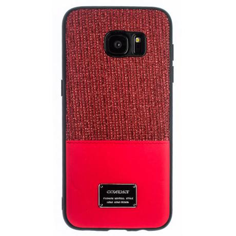 Husa Magnetica Samsung Galaxy S7 Edge, Rosu Glitter CTK