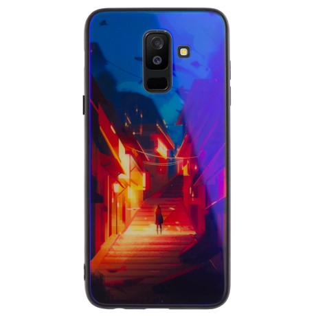 Husa Oglinda Samsung Galaxy A6 Plus 2018, Girl on Stairs