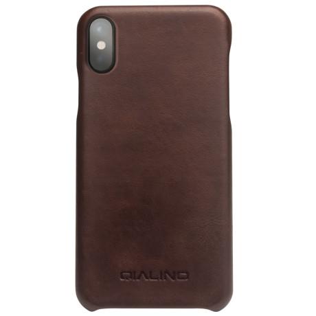 Husa piele iPhone X/Xs 5.8'' Qialino Maro Inchis