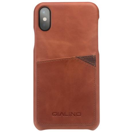 Husa piele iPhone X/Xs 5.8'' Qialino Slot Card Maro