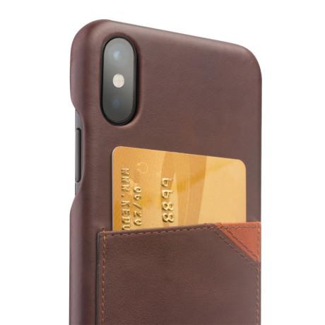 Husa piele iPhone X/Xs 5.8'' Qialino Slot Card Maro Inchis