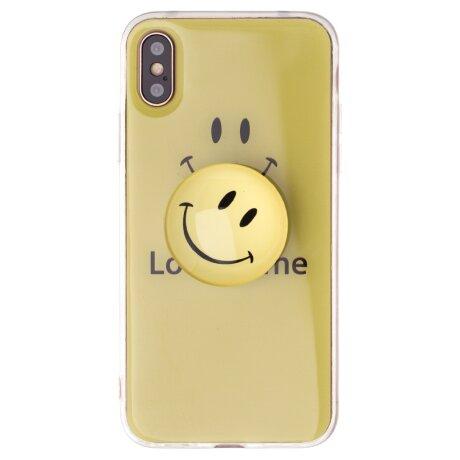 Husa Silicon cu suport, iPhone X/XS, Smile Galbena