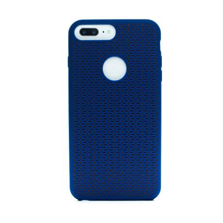 Husa silicon iPhone 6 Plus/7 Plus, Contakt Albastru-Portocaliu