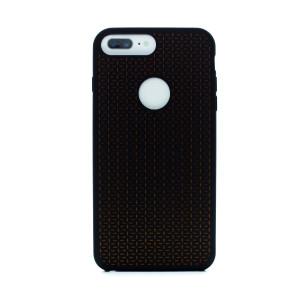 Husa silicon iPhone 6 Plus/7 Plus, Contakt Negru-Portocaliu