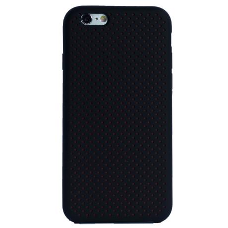 Husa silicon iPhone 6/6S iShield Negru-Rosu