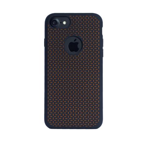 Husa silicon iPhone 6/6S/7, Contakt Negru-Portocaliu