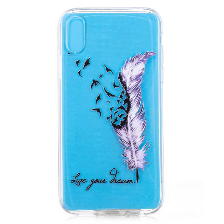 Husa silicon iPhone XR 6.1'', Purple Feather and Bird