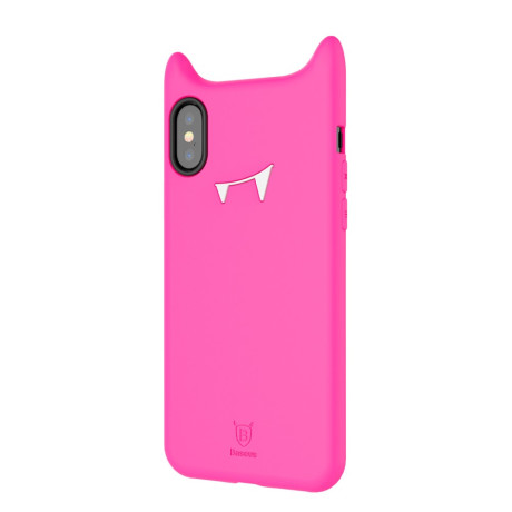 Husa silicon iPhone X/XS 5.8'' Devil Face Roz Baseus
