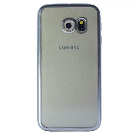 Husa Silicon Pentru Samsung Galaxy S6 Edge ( Rama Argintiu )