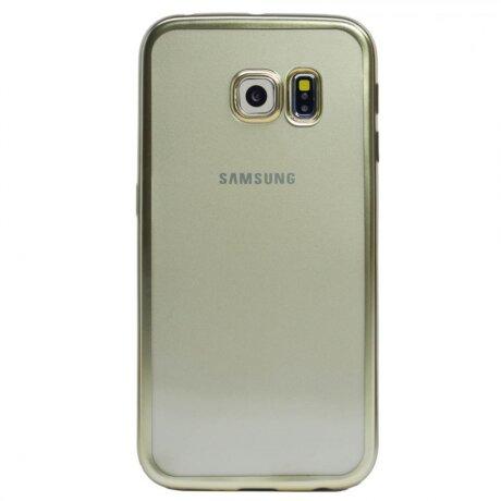 Husa Silicon Pentru Samsung Galaxy S6 ( Rama Auriu )
