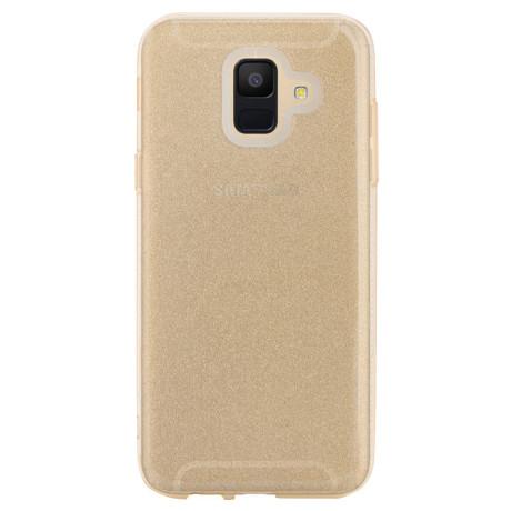 Husa silicon Samsung Galaxy A6 2018 Auriu Glitter