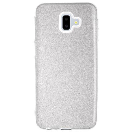 Husa Silicon Samsung Galaxy J6 Plus 2018, Glitter Argintie