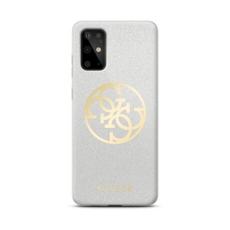 Husa silicon Samsung Galaxy S20 Plus, Glitter Circle Cover Guess Argintiu