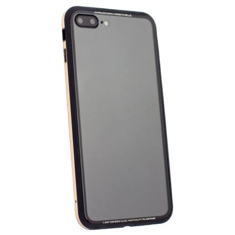 Husa spate sticla iPhone 7 Plus, iShield Rama Aurie