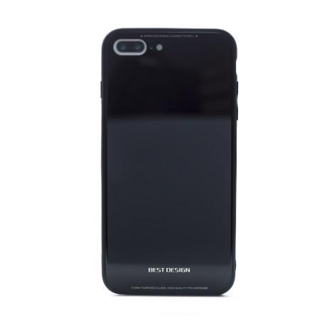 Husa spate sticla iPhone 7 Plus/8 Plus, Contakt Neagra