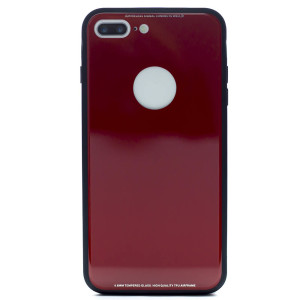 Husa spate sticla iPhone 8 Plus Rosu iShield