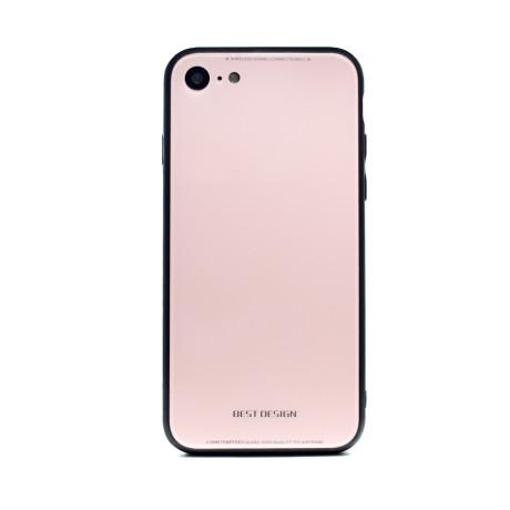 Husa spate sticla iPhone 8/SE 2, Contakt Roz