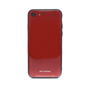 Husa spate sticla iPhone 8/SE 2 Rosu
