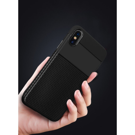 Husa Splicing Flexible TPU iPhone XS Max, Neagra