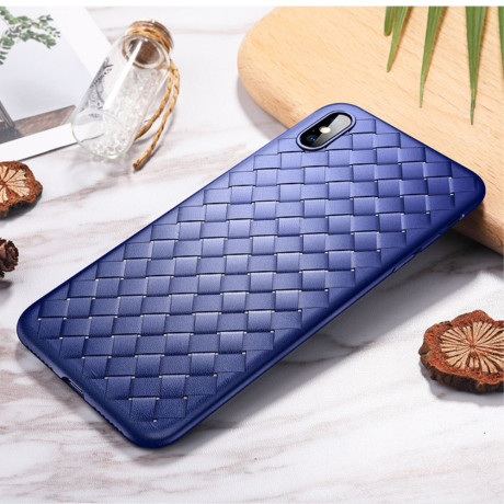 Husa  TPU iPhone XS Max 6.5'', Woven Pattern Rock Albastra