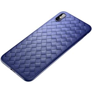 Husa  TPU iPhone XS Max, Woven Pattern Rock Albastra