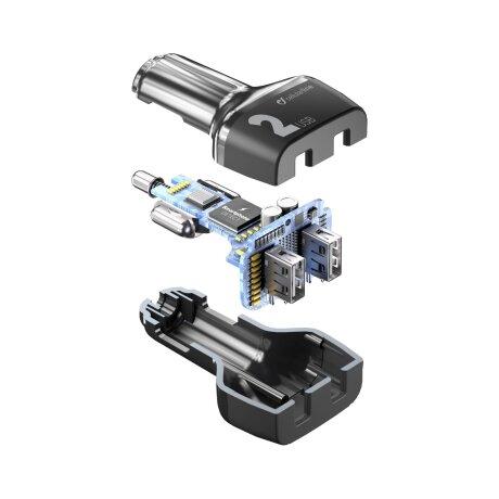Incarcator Auto Cellularline QC 3.0 24W 2xUsb Negru