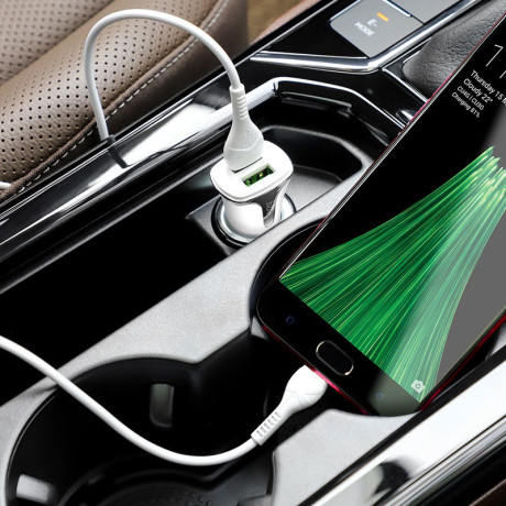 Incarcator auto Z31 Hoco QC3.0 + Cablu Micro USB Alb
