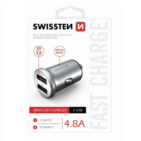 Incarcator Auto Swissten 2xUSB 4.8A Argintiu