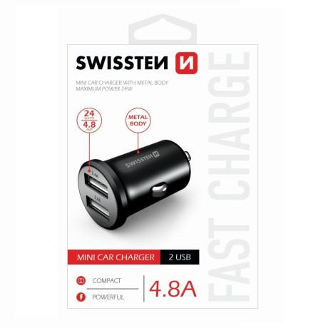 Incarcator Auto Swissten 2xUSB 4.8A Negru