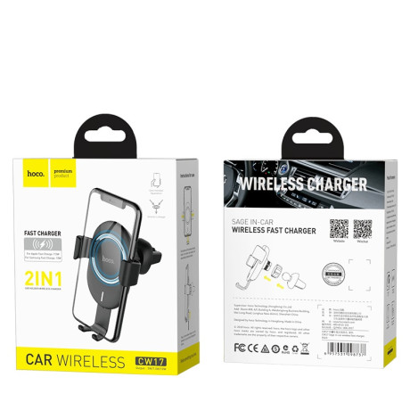 Incarcator Auto Wireless Fast Charge, Hoco CW17, Negru