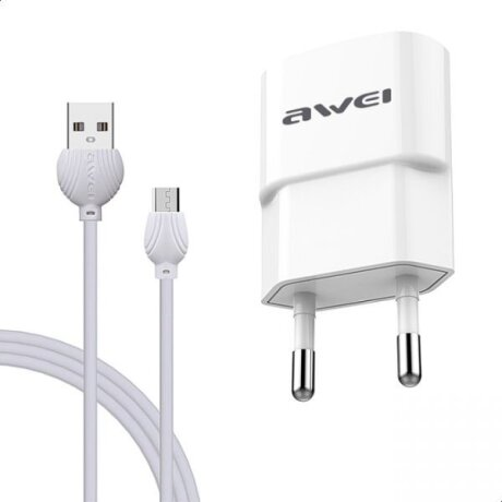 Incarcator Retea Awei 2xUsb cu Cablu Date Micro Usb 1m Alb