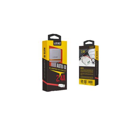 Incarcator retea + cablu lightning Ldnio AC52 Alb