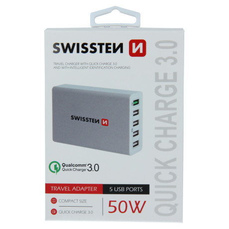 Incarcator Retea cu Incarcare Rapida, Swissten Smart IC 5xUSB 3.0 50W Alb