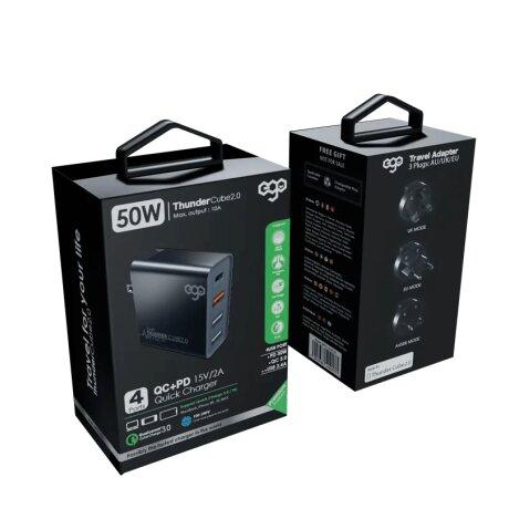 Incarcator Retea Ego Thunder Cube 2.0 2xUsb QC 3.0 50W Negru