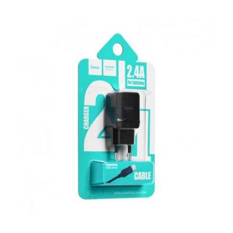 Incarcator Retea Hoco C22A 1xUSB + Cablu Lightning Negru