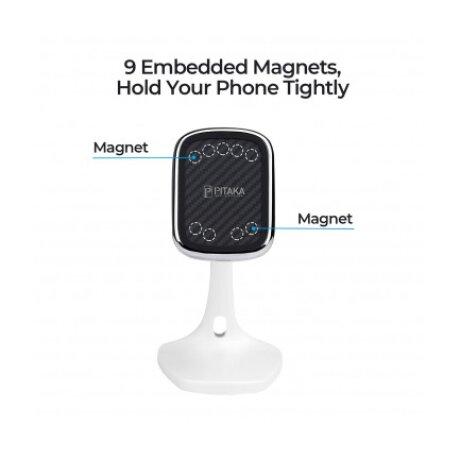 Incarcator Retea Pitaka Wireless MagMount Magnetic DT1001W QC 3.0 10W Alb