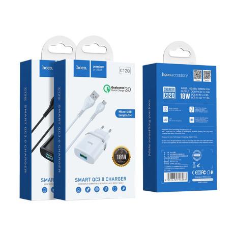 Incarcator retea rapid C12Q + cablu Micro USB Hoco Alb