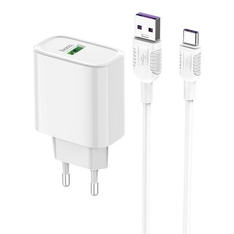Incarcator retea rapid C69A + cablu Type-C Hoco Alb