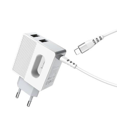 Incarcator retea rapid C75 + 2xUSB cu cablu Lightning Hoco Alb