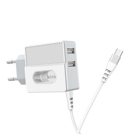 Incarcator retea rapid C75 + 2xUSB cu cablu MicruUSB Hoco Alb