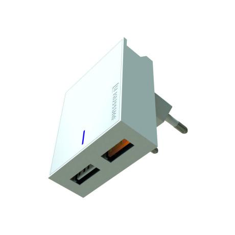 Incarcator Retea Swissten 2xUSB QC 3.0 23W Alb