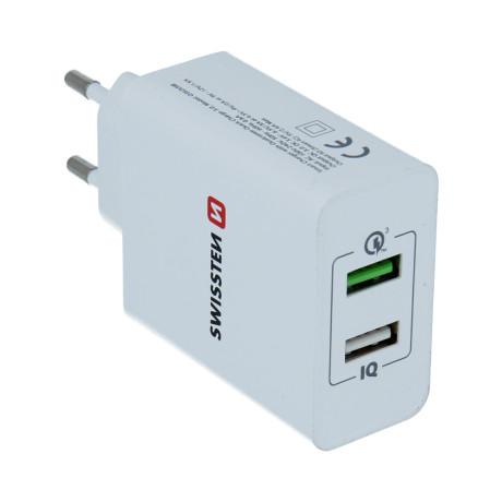 Incarcator Retea Swissten cu Incarcare Rapida, Smart IC 2xUSB  3.0 30W Alb
