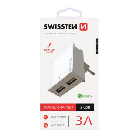 Incarcator Retea Swissten Smart IC 2xUSB 3A Alb