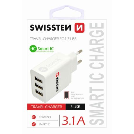Incarcator Retea Swissten, Smart IC 3xUSB 3.1A Alb
