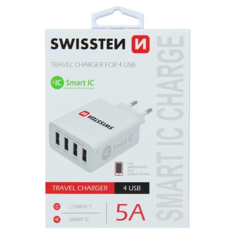 Incarcator Retea Swissten, Smart IC 4xUSB 5A Alb