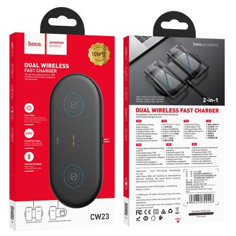 Incarcator Wireless cu Incarcare Rapida Hoco CW23 Dual Power 3.0 Negru