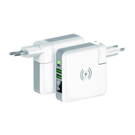 Power Bank cu Incarcare Wireless 6700mAh si Incarcator Retea 5W 4 in 1 Ksix Alb