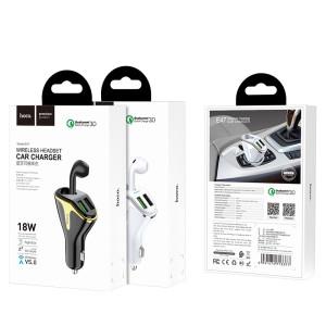 Kit Incarcator Auto+Casti Wireless Hoco E47 QC 3.0 2xUSB 35mAh Alb